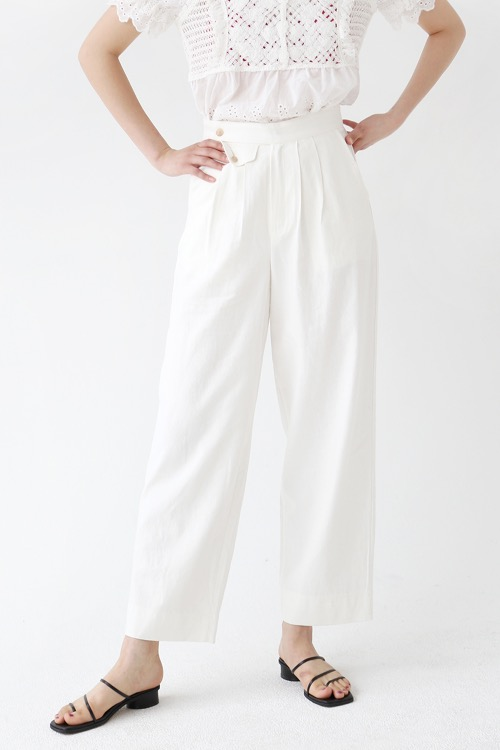 LINEN WIDE TROUSERS (white)