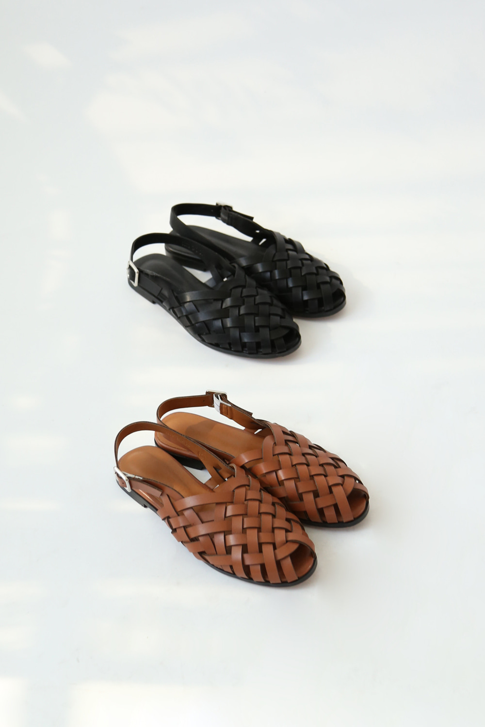 WOVEN LEATHER SANDALS(brown, black)